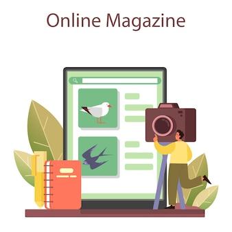 Ornitholoog online service of platform. zoöloog onderzoek naar vogels, natuuronderzoeker die met vogels werkt. online tijdschrift. platte vectorillustratie