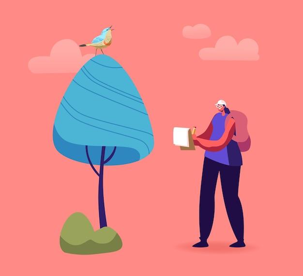 Ornitholoog vrouwelijk personage schrijft notities terwijl ze vogels in de boom kijkt