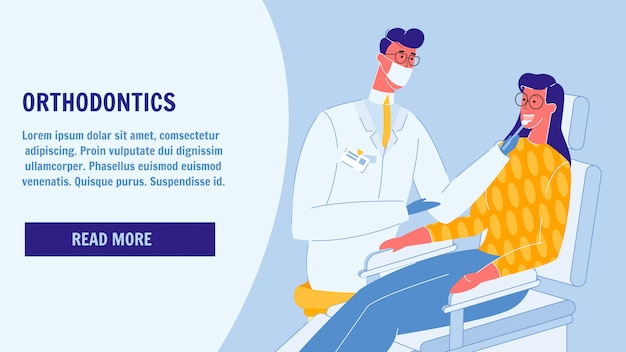 Orthodontie flat vector landing page template