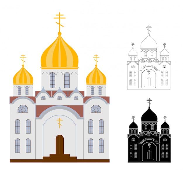 Orthodoxe kerkgebouwen op witte achtergrond. kerk lineaire en kleurentekening.