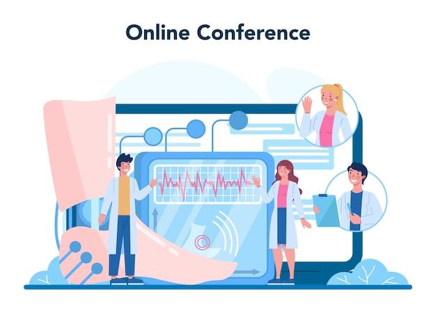 Orthopedie arts online service of platform. idee van gewrichts- en botbehandeling. menselijke anatomie en botstructuur. online conferentie. vector illustratie