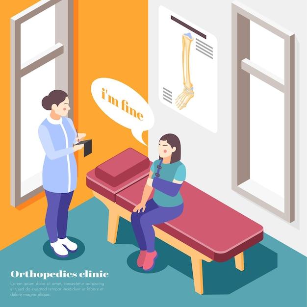 Orthopedie ziekenhuis met arm letsel behandeling symbolen isometrische illustratie