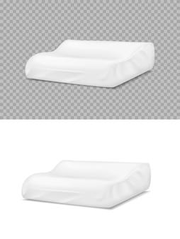 Orthopedisch wit kussen, kussens met traagschuim of latexvulling 3d. Premium Vector
