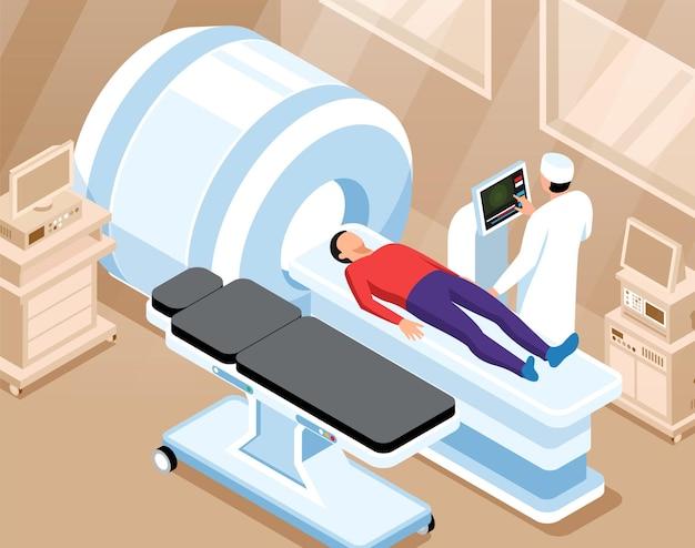 Orthopedische horizontale illustratie met arts bereidt zich voor op magnetische resonantie beeldvorming scan