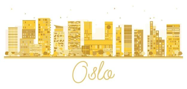 Oslo city skyline gouden silhouet. vector illustratie. stadsgezicht met beroemde bezienswaardigheden.