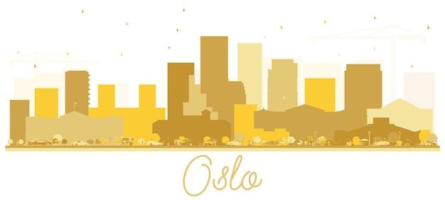 Oslo noorwegen skyline gouden silhouet. vector illustratie. zakelijk reisconcept. oslo cityscape met bezienswaardigheden.