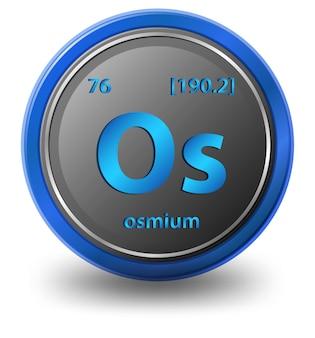 Osmium scheikundig element. chemisch symbool met atoomnummer en atoommassa.