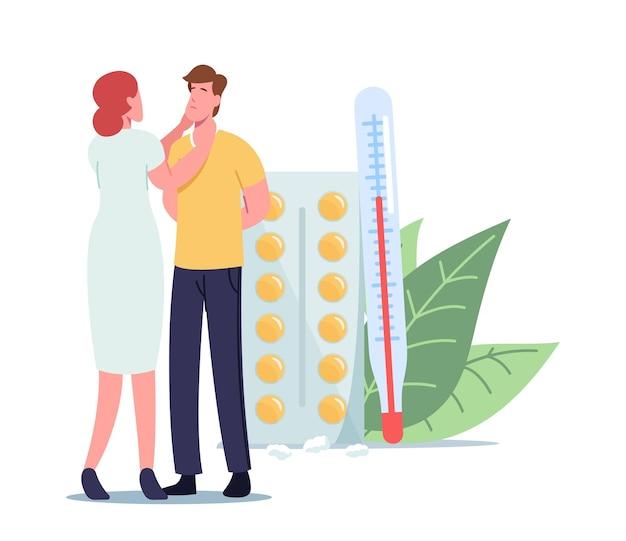 Otolaryngoloog vrouwelijk karakter check-up zieke mannelijke patiënt met sinusitis of luchtwegaandoening