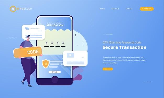 Otp of eenmalig wachtwoord voor veilige transactie op digitaal betalingstransactieconcept