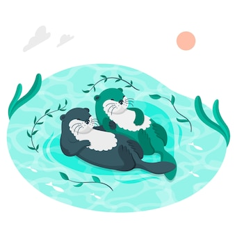 Otters zwemmen concept illustratie