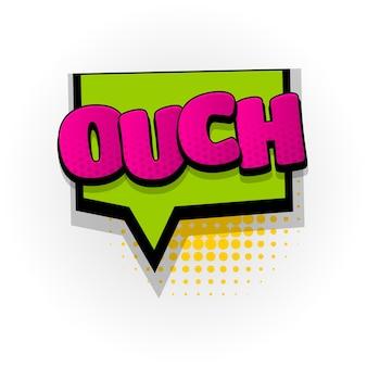 Ouch oeps geluid stripboek teksteffecten sjabloon strips tekstballon halftoon pop-art stijl