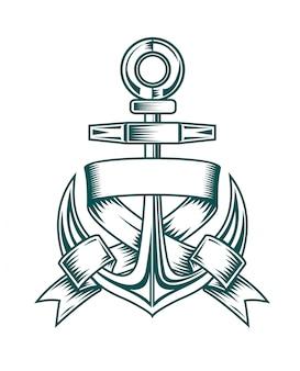 Oud anker met linten voor heraldisch ontwerp