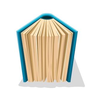 Oud boek in harde blauwe kaft verticaal staan