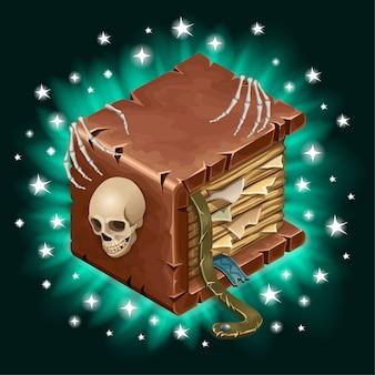 Oud boek met gescheurde pagina's versierde schedel.