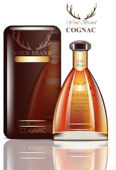 Oud cognac-verpakkingsontwerp. realistisch product met merklabel. plaats voor teksten