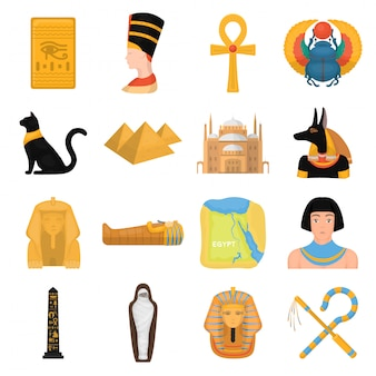 Oud egypte cartoon ingesteld pictogram. de geïsoleerde oude egyptenaar van het beeldverhaal vastgestelde pictogram. illustratie het oude egypte.