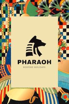 Oud-egyptisch patroonsjabloon met minimaal logo, geremixt van kunstwerken uit het publieke domein