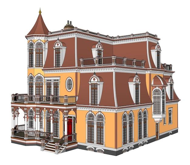 Oud huis in victoriaanse stijl. illustratie op witte achtergrond. soorten van verschillende kanten.