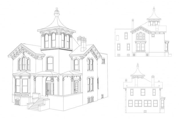 Oud huis in victoriaanse stijlblauwdruk