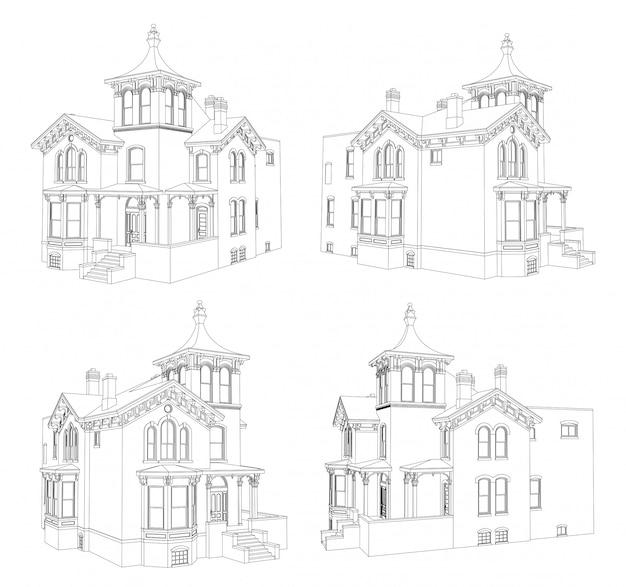 Oud huis in victoriaanse stijlenset
