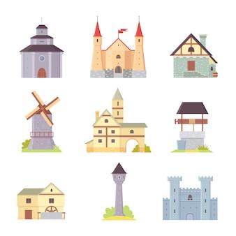 Oud kasteel, europa paleis gebouw illustraties. middeleeuwse historische gebouwen, architectuurtorens en oude stadshuizen.