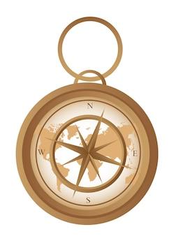 Oud kompas met kaart geïsoleerd over witte achtergrond vectorillustratie