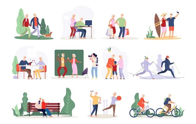 Oud koppel. vector actieve mensen collectie. gelukkige bejaarde karakters. oude personen in café, park, bos. grootmoeder grootvader vector set. gepensioneerde actieve gelukkige en gezonde illustratie