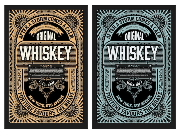 Oud label voor whisky en wijnetiket, restaurantbanner, bieretiket.