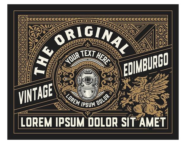 Oud labelontwerp voor whisky en wijnetiket, bieretiket.
