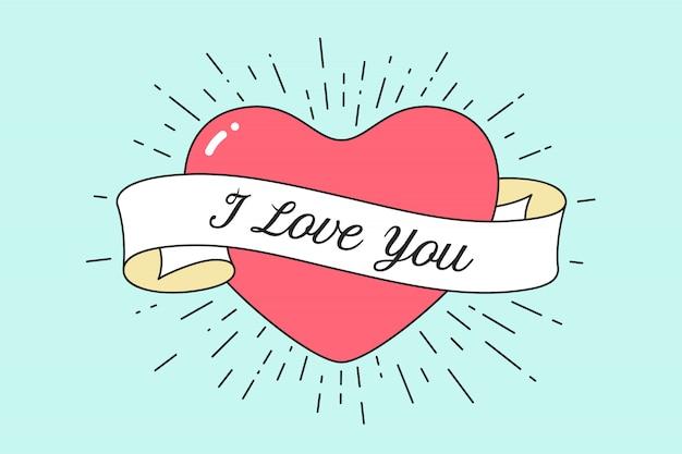 Oud lint met bericht i love you