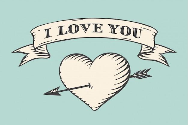 Oud lint met bericht ik hou van je, hart en pijl in vintage stijl gravure op een turkooizen achtergrond