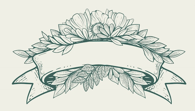 Oud lint met floraornament