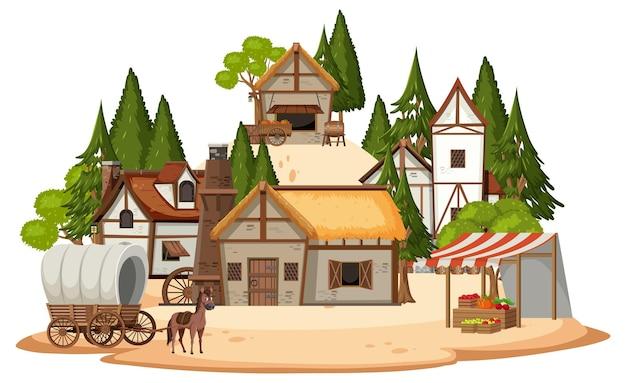 Oud middeleeuws dorp dat op witte achtergrond wordt geïsoleerd