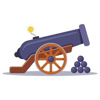 Oud militair kanon met een aangestoken lont