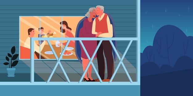 Oud paar dat buiten omhelst. ouderen brengen tijd samen en met hun gezin door. vrouw en man bij pensionering. gelukkige grootvader en grootmoeder thuis. illustratie