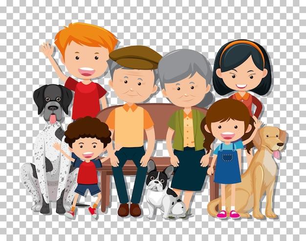 Oud paar en kleinkind met hun geïsoleerde huisdierenhonden