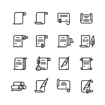 Oud papier scrollt en documentenpictogrammen. eenvoudige diplomasymbolen