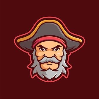 Oud piraat mascotte e-sports logo karakter