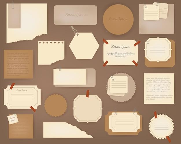 Oud plakboek papier. verfrommelde papieren pagina's, vintage plakboekpapieren en retro fotoboekresten.