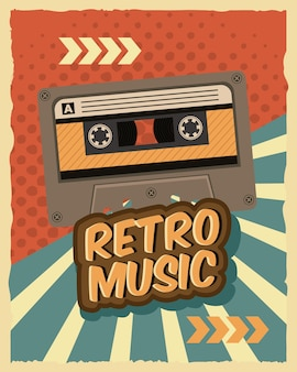 Oud retro vector de illustratieontwerp van het cassetteapparaat