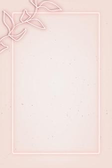 Oud roze neonlicht frame met bladeren