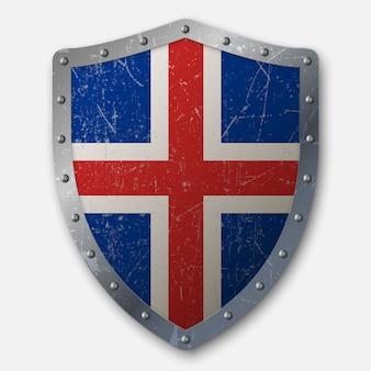 Oud schild met vlag van ijsland