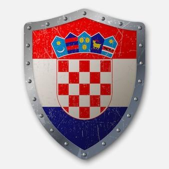 Oud schild met vlag van kroatië