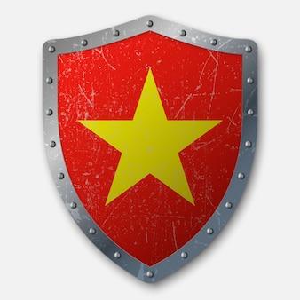 Oud schild met vlag van vietnam