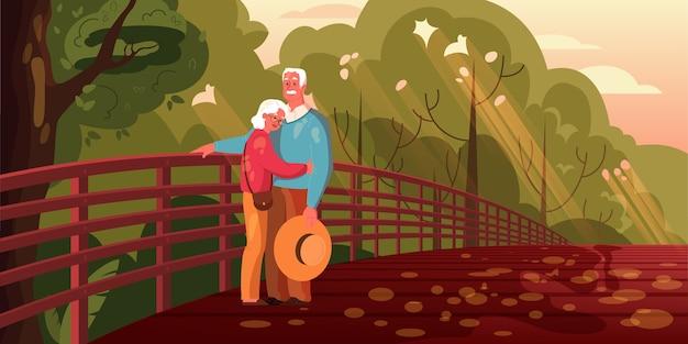 Oud stel brengt samen tijd door. vrouw en man bij pensionering. gelukkig grootvader en grootmoeder lopen in het park. illustratie