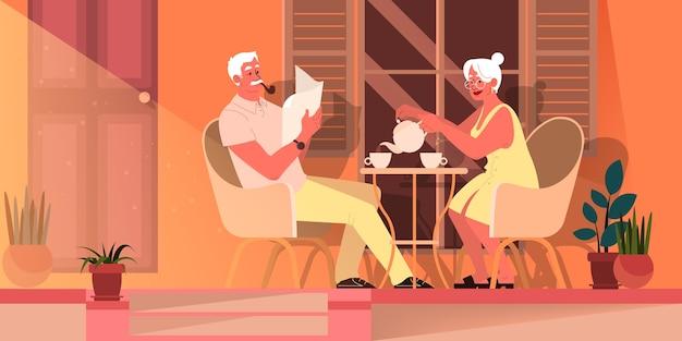 Oud stel brengt samen tijd door. vrouw en man bij pensionering. gelukkige grootvader en grootmoeder dink thee thuis. oude man die een pijp rookt en een krant leest. illustratie
