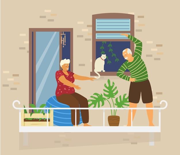 Oud stel doet oefeningen op gezellig balkon met kat en planten. bakstenen huis buitenkant. home activiteiten. blijf thuis concept. vlak