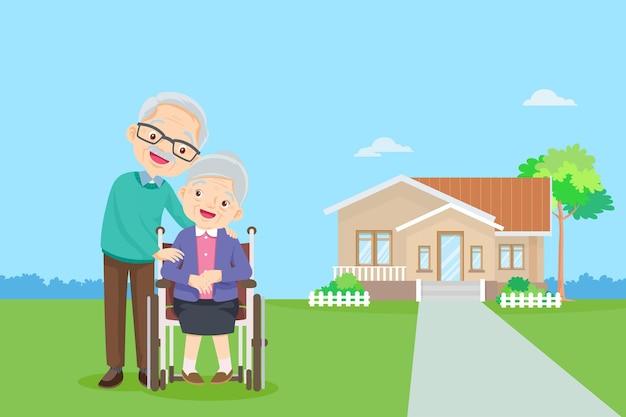 Oud stel op de achtergrond van zijn huisbejaarden samen voor het huis