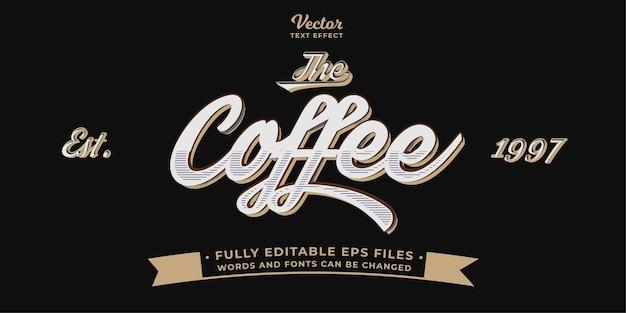 Oud vintage café teksteffect bewerkbare eps cc