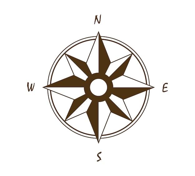 Oud vintage kompas in retrostijl als windroos